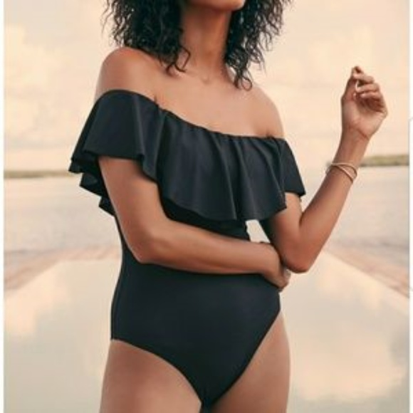 beafd2d62a3 Swim | Classy Black Suit With Off Shoulder Ruffle | Poshmark